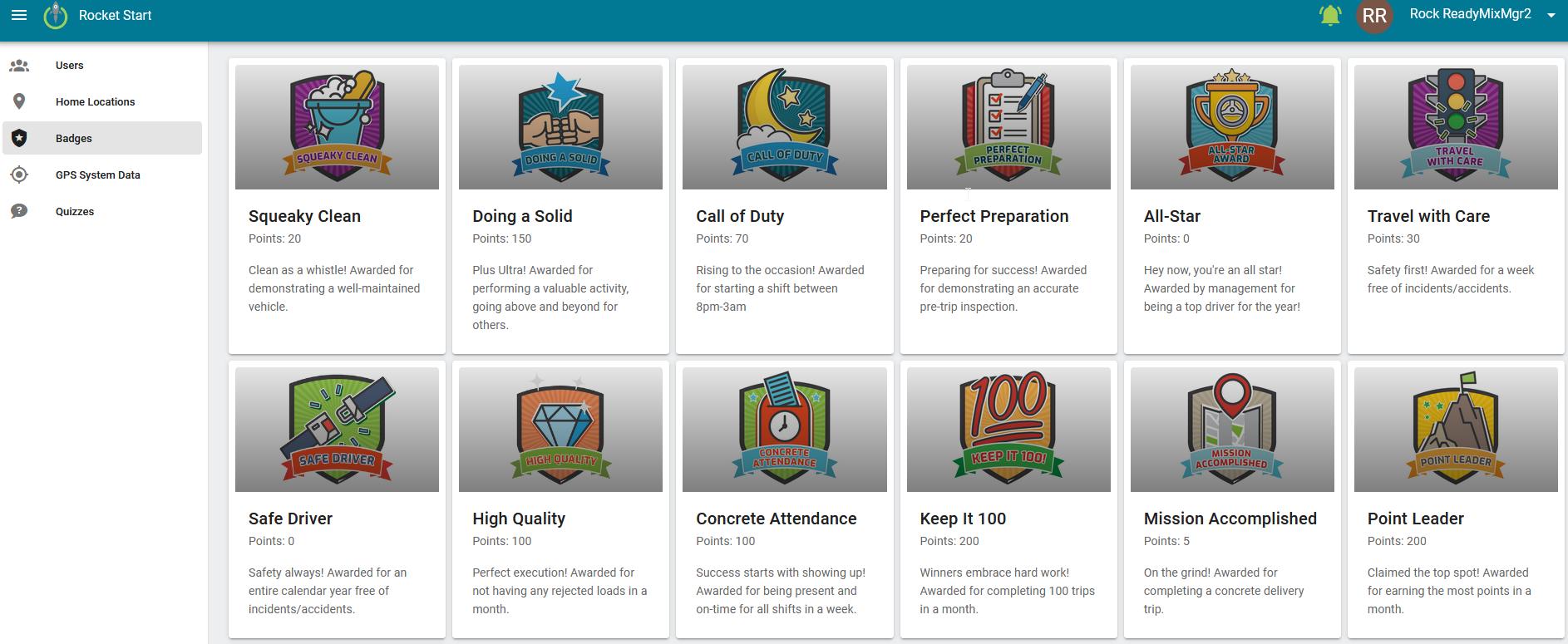 Rocket Start badges